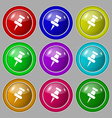 push pin icon sign symbol on nine round colourful vector image