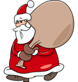 santa with sack on christmas vector image vector image