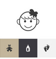 set of 4 editable child icons includes symbols vector image