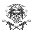 skull in soldier helmet smoking cigar vector image vector image