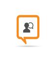 square orange speech bubble with man three vector image