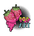 strawberry dripping icon vector image