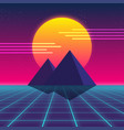 synthwave retro design pyramids and sun vector image vector image