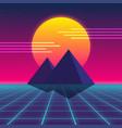 synthwave retro design pyramids and sun vector image