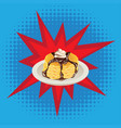 tasty fluffy pancakes vector image vector image