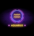 the aquarius zodiac symbol in neon style vector image vector image
