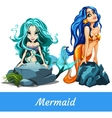 Two girls mermaid with turquoise and blue hair vector image