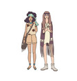 two young hippie women dressed in stylish clothing vector image vector image