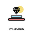 valuation icon with diamond on white background vector image