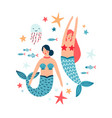 water nymph and sea inhabitants flat vector image vector image