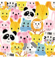 watercolour cute animal faces pattern seamless vector image vector image