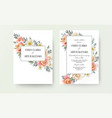 wedding floral invite invitation card design vector image