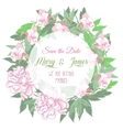 Wedding wreath with two pink peonies and flowers vector image vector image