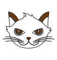 white and brown silhouette of cartoon face cat vector image