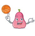 with basketball rose apple character cartoon vector image vector image