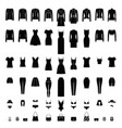 women clothes silhouettes set isolated on white vector image vector image