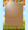 wooden sign on rural landscape background vector image vector image