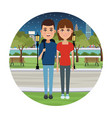 young couple cartoons vector image vector image