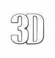 abbreviation 3d for three-dimensional film vector image