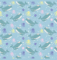 adorable whale seamless pattern vector image