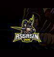 assassin mascot sport logo design vector image vector image