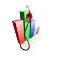 Bar graph of fuel prices with gas pump nozzle vector image