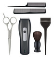 barbershop realistic barber tools hairdresser vector image vector image