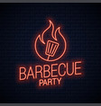 bbq neon sign barbecue neon banner on wall vector image vector image