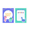 birthday party card with cute colorful dinosaurs vector image vector image