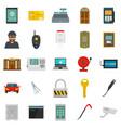burglar robber plunderer icons set flat style vector image vector image