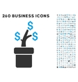 Business Project Plant Icon with Flat Set vector image