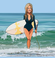 cartoon woman comes out of the sea with a vector image vector image