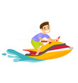 caucasian white man riding a jet ski scooter vector image