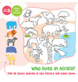 coloring game amimals in africa zebra camel vector image
