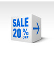 cube banner template twenty percent off discount vector image vector image