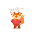 cute cartoon lovely red fox with pink large heart vector image vector image