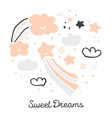 cute scanidnavian handdrawn sky stars clouds vector image