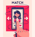 dating application concept choose your soulmate vector image vector image