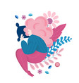 fat girl sleeping on the pillow with voluminous vector image