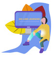 female online learning person flat character vector image
