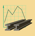 flat icon on stylish background falling graph vector image vector image