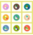 flat icons set of Business pie chart in hand vector image vector image