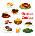 german cuisine dinner icon with traditional food vector image vector image