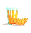 Glass Of Fresh Orange Juice And Slice Of Orange vector image vector image