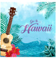 go to hawaii guitar sea tree flower background vec vector image vector image