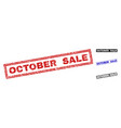 grunge october sale scratched rectangle stamps vector image vector image