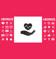 hand holding heart medical icon vector image