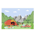 happy couple camping in mountains man and woman vector image