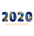 happy new year tropical pattern 2020 figures hand vector image vector image