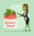 happy smiling business zombie woman vector image vector image